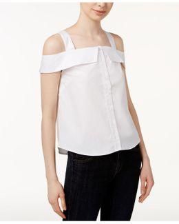 Oxford Cotton Cold-shoulder Shirt