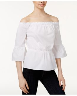 Oxford Cotton Off-the-shoulder Top