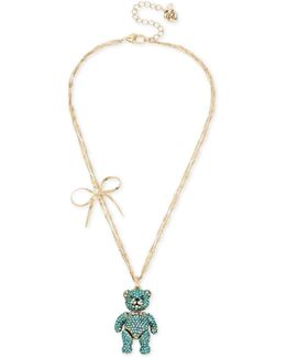 Gold-tone Crystal & Bow Bear Pendant Necklace