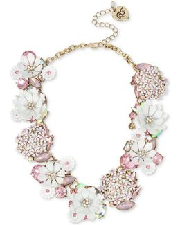 Gold-tone Multi-stone Flower Statement Necklace