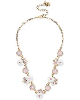 Gold-tone Pink Crystal Flower Statement Necklace