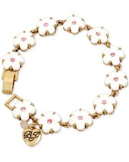 Gold-tone Pink Crystal Flower Bracelet