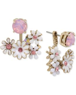 Gold-tone Flower And Crystal Front And Back Earrings