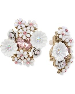 Gold-tone Flower Cluster Clip-on Stud Earrings