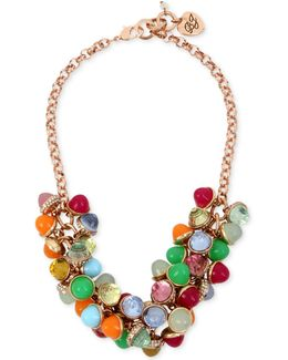 Gold-tone Multi-stone Shaky Statement Necklace