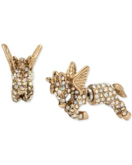 Gold-tone Pavé Unicorn Front-back Earrings