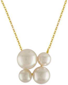 Gold-tone Stainless Steel Imitation Pearl Cluster Pendant Necklace