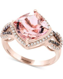 Morganite (3-1/2 Ct. T.w.) & Diamond (1/3 Ct. T.w.) Ring In 14k Rose Gold