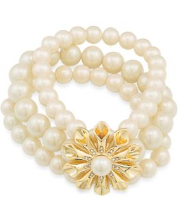 Gold-tone Pavé & Imitation Pearl Flower Stretch Bracelet