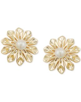 Gold-tone Imitation Pearl Flower Clip-on Stud Earrings