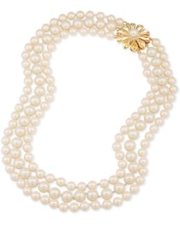 Gold-tone Flower & Imitation Pearl Triple-row Necklace