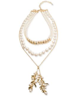 Gold-tone Imitation Pearl Choker Lariat Necklace