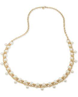 Gold-tone Imitation Pearl Shaky Rope Necklace