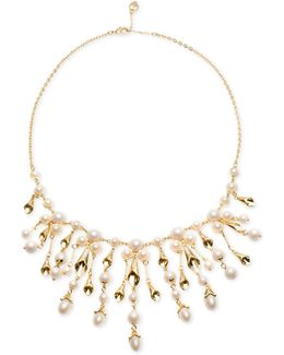 Gold-tone Imitation Pearl Statement Necklace