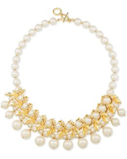 Gold-tone Petal & Imitation Pearl Necklace
