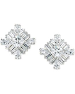 Silver-tone Cubic Zirconia Square Stud Earrings