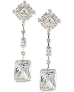 Silver-tone Cubic Zirconia Linear Drop Earrings