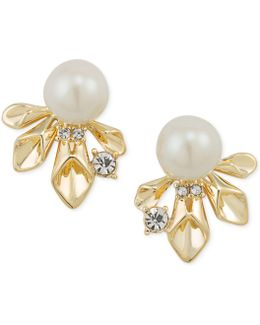Gold-tone Pavé & Imitation Pearl Stud Earrings