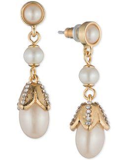 Gold-tone Imitation Pearl & Crystal Drop Earrings