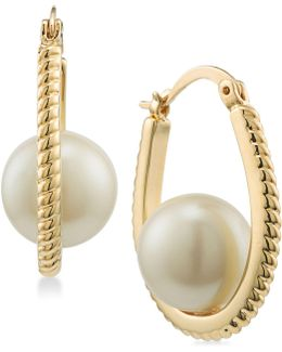 Gold-tone Imitation Pearl Rope-texture Hoop Earrings