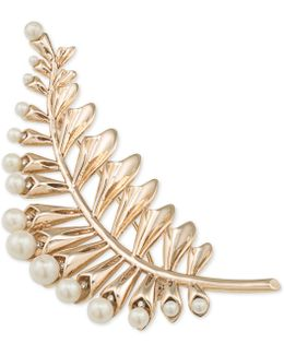 Gold-tone Imitation Pearl Floral Leaf Pin