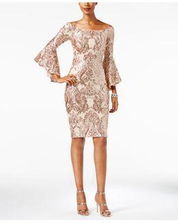 Off-the-shoulder Sequined Dress