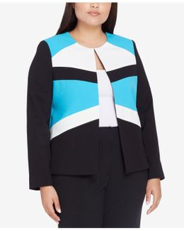 Plus Size Colorblocked Flyaway Blazer