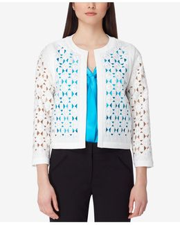 Petite Collarless Laser Cut Frame Jacket