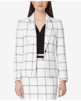 Textured Windowpane-print Blazer