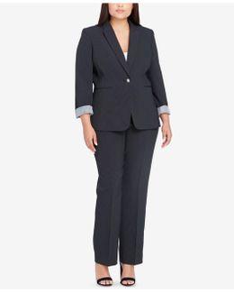 Plus Size Contrast-cuff Pantsuit