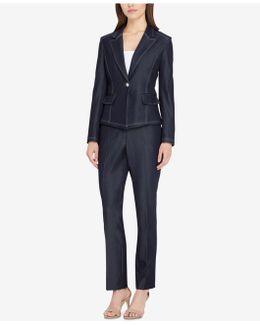 Missy & Petite Peak Lapel One-button Pantsuit