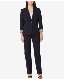 Contrast-cuff Pinstripe Pantsuit