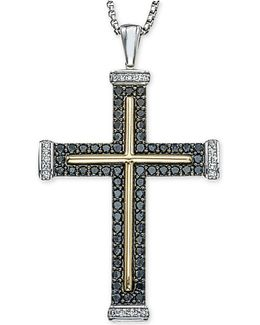 Men's Diamond Two-tone Cross Pendant Necklace (1 Ct. T.w.) In Sterling Silver And 10k Gold