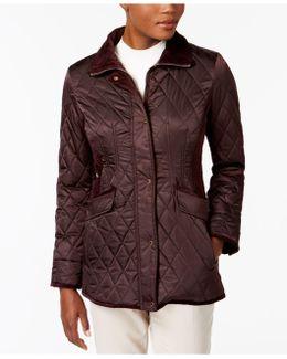 Velvet-trim Quilted Coat