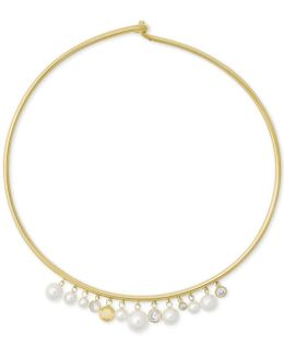 Gold-tone Cubic Zirconia & Imitation Pearl Hinged Choker Necklace