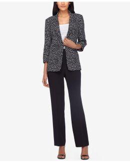 Peak-collar Printed Pantsuit