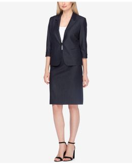 Buckle-front Skirt Suit