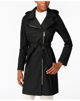Asymmetrical Belted Hooded Raincoat