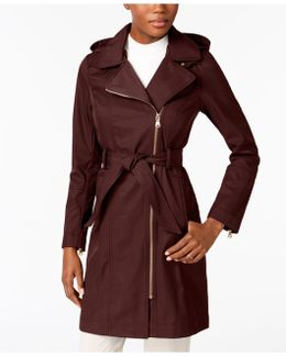 Asymmetrical Belted Hooded Raincoat