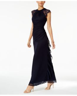 Ruched Lace-trim Gown