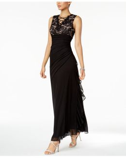 Ruched Lace Gown