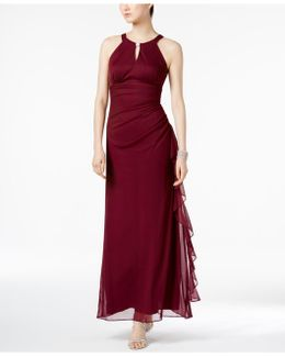 Ruched Halter Gown