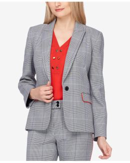 Contrast-trim Plaid Blazer