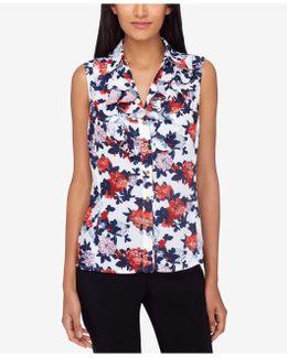 Floral-print Button-front Blouse
