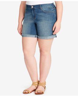 Trendy Plus Size Olympia Wash Denim Shorts