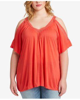 Trendy Plus Size Cold-shoulder T-shirt