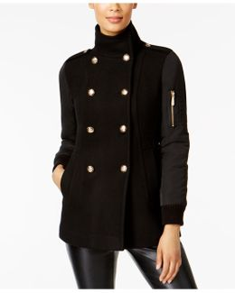 Military Wool-blend Stand-collar Walker Coat
