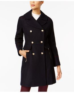 Contrast-trim Double-breasted Peacoat