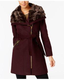 Faux-fur-collar Asymmetrical Coat