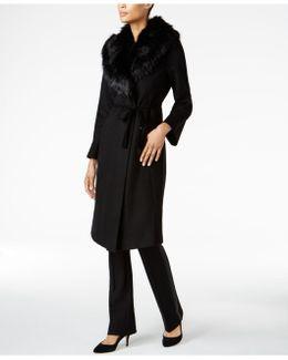 Faux-fur-collar Wrap Coat